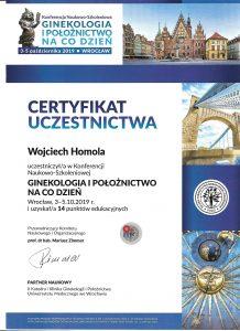 certyfikat konferencja ginekologia na codzien