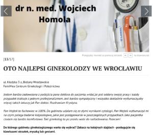 Ranking Gazety Wrocławskiej wspomina dr n. med. Wojciech  Homolę